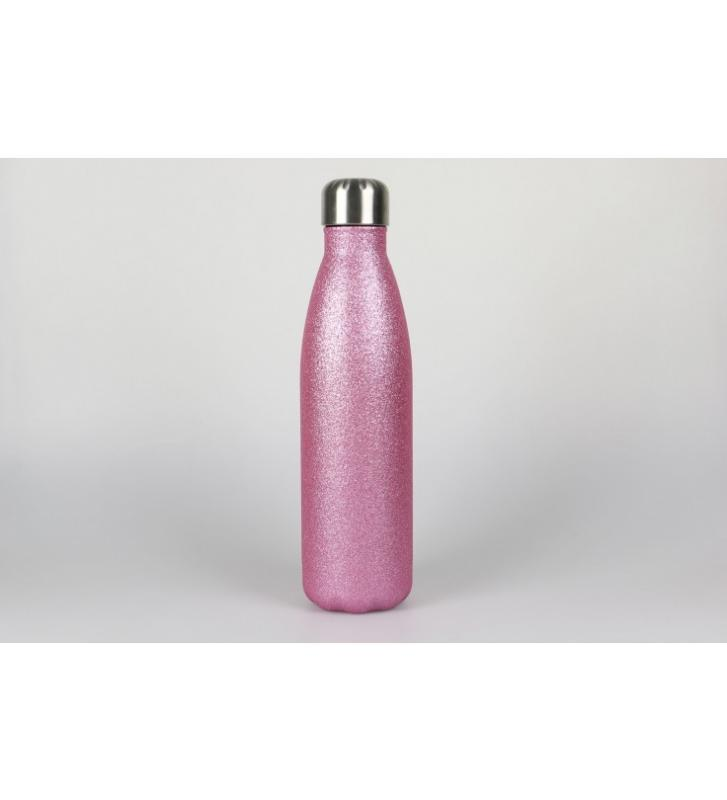 Botella laserable rosa purpurina 500ml.