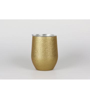 Taza laserable dorado purpurina 360ml